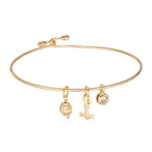 CZ Gold Plated Anchor Charm Bangle Bracelet NIP